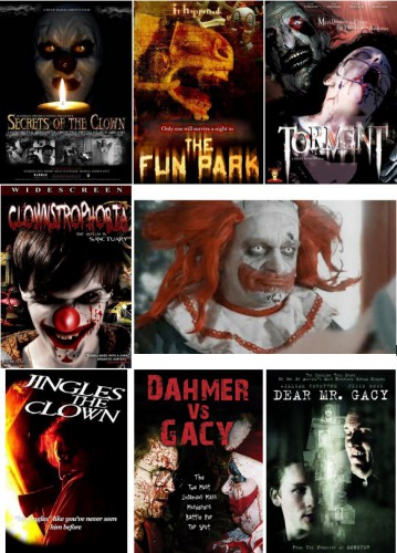 Secrets of the Clown (Ryan Badalamenti, 2007) / The Fun Park (Rick Walker, 2007) / Torment (Steve Sessions, 2008) / Clownstrophobia (Geraldine Winters, 2009) / Le Queloune - The Clown (Patrick Boivin, 2009) / Jingles the Clown (Tommy Brunswick, 2009) / Dahmer vs. Gacy (Ford Austin, 2010) / Dear Mr Gacy (Svetozar Ristovski, 2010)