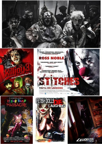 Balada triste de trompeta (Álex de la Iglesia, 2010) / Killjoy 3 (John Lechago, 2010) / Dark Clown (aka Slitches, Conor McMahon, 2012) / Klown Kamp Massacre (Philip Gunn, David Valdez, 2010)/ Fetish Dolls Die Laughing (David Silvio, 2012) / Laughter (Adam Dunning, 2012)