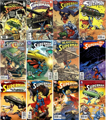 Secret Origins #1, April 1986 / The Adventures of Superman #427, April 1987 / Superboy #24, 1994 Series, February 1996 / Superman Vol 2 #124, Art by Ron Frenz, June 1997 / Superboy - Risk Double-Shot #1, Art by Joe Phillips & Jasen Rodriguez, February 1998 / Superman 2999 #136, July 1998 / The Adventures of Superman #590, May 2001 / The Adventures of Superman #610, January 2003 / Superman #201, March 2004 / The Adventures of Superman #654, August 2006 / Supergirl #25, 2005 Series, March 2008 / Superman #19, Snappy Answers to Stupid Questions, Al Jaffee, June 2013