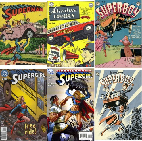 Superman #19, November-December 1942 / Adventure Comics #138, March 1949 / Superboy #25, April-May 1953 / Supergirl #10, 1996 Series, June 1997 / Supergirl #21, 2005 Series, November 2007 / The Adventures of Superboy, 2010 Series, June 2010
