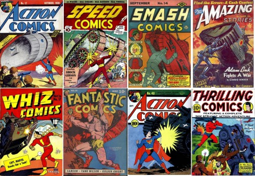 Action Comics #17, October 1939 / Speed Comics #1, October 1939 / Smash Comics #14, September 1940 / Amazing Stories v14n12, #157, December 1940 / Whiz Comics #17, May 1941 / Fantastic Comics #19, June 1941 / Action Comics #40, September 1941 / Thrilling Comics #23, December 1941