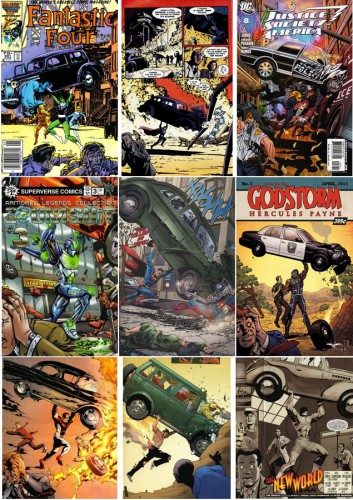 Fantastic Four #291 [Newsstand Edition], Cover art by John Byrne, June 1986 / Elseworld Superman War of the Worlds, Michael Lark, 1999 / Justice Society of America #8 [Incentive Cover Edition], October 2007 / Zoom Suit #3, 2006 / Infinite Crisis # 5, March 2006, page 14 / Godstorm #1, April 2014 / Magnus Robot Fighter 7, Acclaim, circa 1997 / Superman Birthright #2, October 2003 / The New World, by Peter Snejbjerg, The Mighty #1, April 2009