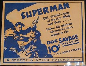 Affiche publicitaire Doc Savage, collection Dwight Fuhro. Made by Street & Smith, circa 1933