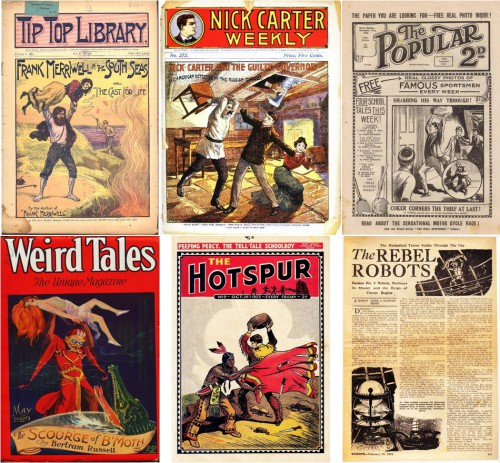 Tip Top Library #38, January 2, 1897 / Nick Carter Weekly #272, circa 1905 / The Popular #200 [UK], November 18, 1922 / Weird Tales v13 #5, May 1929 / The Hotspur #9 [UK], October 28, 1933 / Scoops #1 [UK], February 10, 1934, page 11