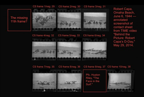 Robert Capa, D-Day images from Omaha Beach, contact sheet, screenshot from Time video (May 29, 2014), annotated, courtesy from Photocritic International (A. D. Coleman)