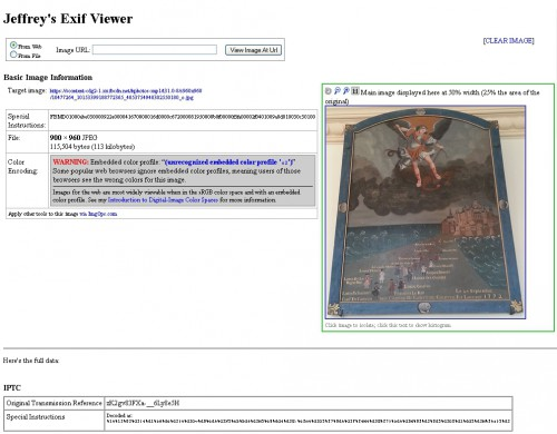 Facebook Metadata - capture d'écran Jeffre'y Exif Viewer