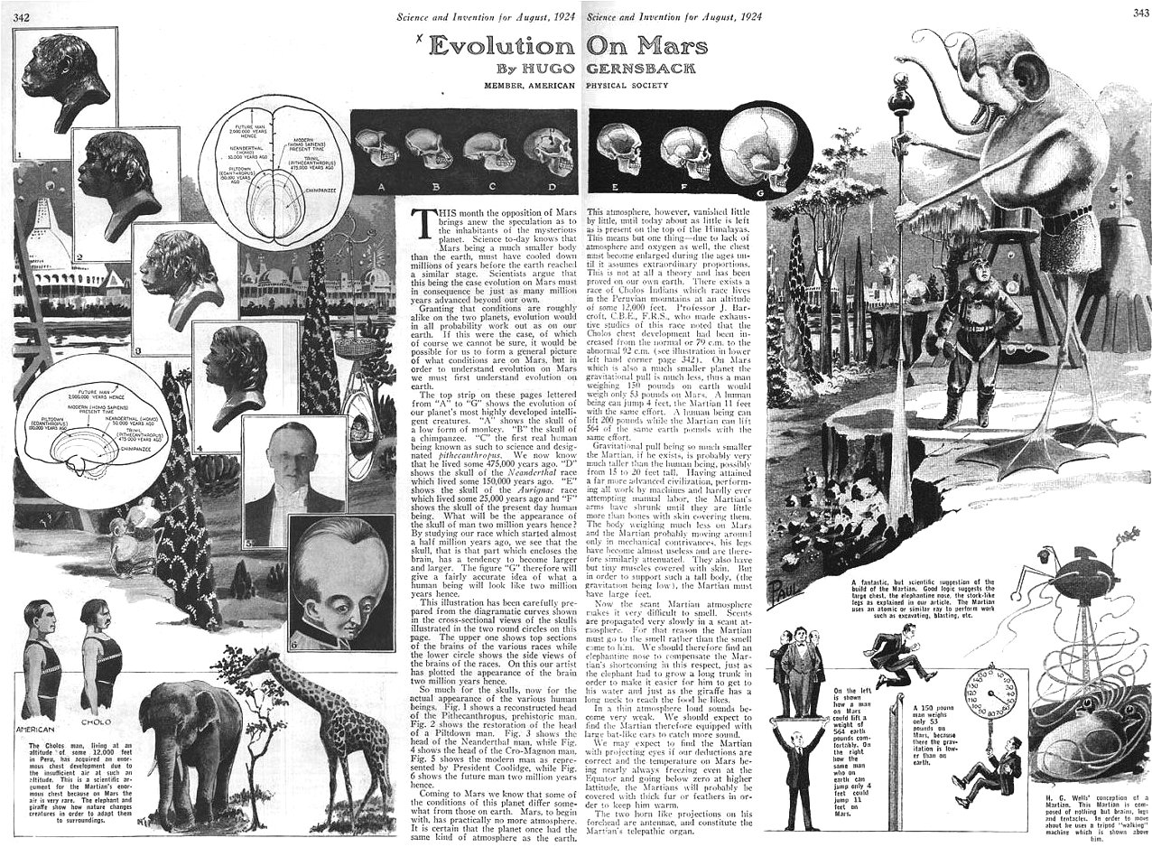 Evolution on Mars, by Hugo Gernsback, Science And Invention, August 1924, p. 342-343