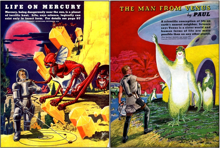 Life on Mercury, art by Frank R. Paul, Fantastic Adventures, September 1939, back cover / The Man From Venus, art by Frank R. Paul, Fantastic Adventures, July 1939, back cover