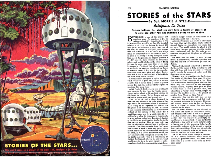 Stories of the Stars - Betelgeuse, Art by Frank R. Paul / Writing by Morris J. Steele, Amazing Stories v18n04, #195 September 1944