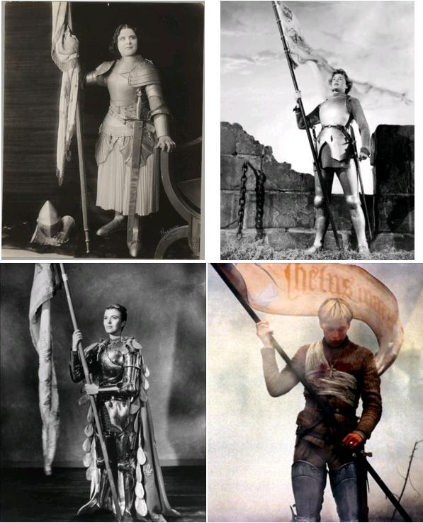 Geraldine Farrar en costume de Jeanne d'Arc pour le film Joan the Woman (Cecil B. DeMille, 1916), The Library of Congress / Ingrid Bergman dans Joan of Arc (Victor Fleming, 1948) / Jean Seberg dans Saint Joan (Otto Preminger, 1957) / Milla Jovovich dans Jeanne d'Arc (Luc Besson, 1999)