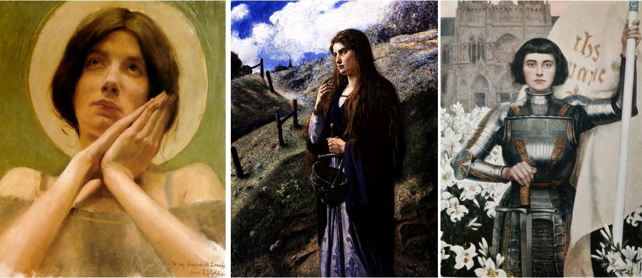 Jeanne séduisante (3). Joan of Arc, Charles Goldie, 1896 / Jeanne d'Arc, Ernest Stückelberg, 1900, Reims, Musée des Beaux-Arts / Jeanne d'Arc, par Albert Lynch, Le Figaro Illustré, 1903