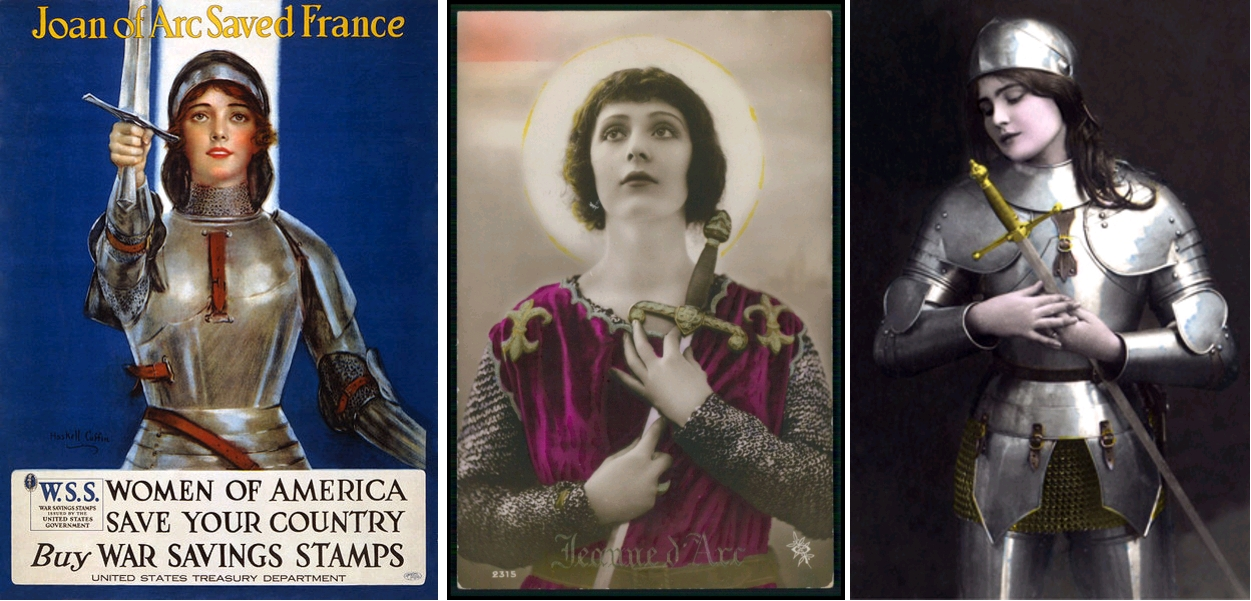 Jeanne séduisante (5). 'Joan of Arc Saved France' - United States propaganda poster by William Henry 'Haskell' Coffin, 1918 / Jeanne d'Arc à l'épée, carte postale colorisée, circa 1920 / Jeanne d'Arc à l'épée, carte postale, circa 1920