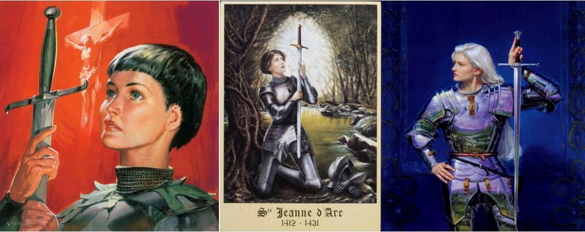 Jeanne séduisante (8). Joan of Arc, by James Edwin McConnell, circa 1990 / Sainte Jeanne d'Arc 1412-1431, Huile sur toile 90 x 70, par Silvio Usai, circa 1993, Studio Regard, Archives départementales des Vosges / Joan of Arc, by Donato Giancola, 2010