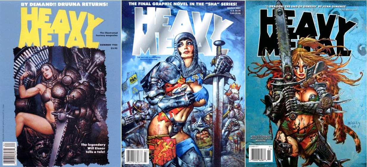 Heavy Metal, Summer 1988, covert art by Oscar Chichoni [couverture reprise en janvier 2002] / Heavy Metal Magazine v25 #1, March 2001, covert art by Simon Bisley / Heavy Metal Magazine, v35 #7, November 2011, covert art by Simon Bisley