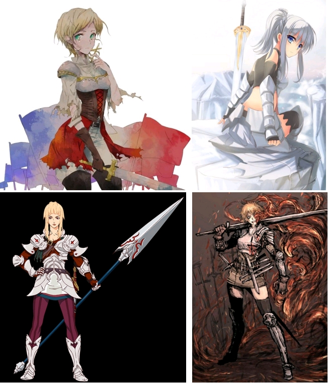 Joan of Arc, Hetalia - Axis Powers, created by Hidekaz Himaruya, published by Gentosha, 2006-2013 / Jeanne d'Arc, in Aria The Scarlet Ammo, written by Chugaku Akamatsu, illustrated by Kobuichi, 2008 [digital manga] / Jeanne d'Arc, Rage of Bahamut - Genesis, directed by Keiichi Sato, 2014 [anime] / Joan of Arc, in Drifters, by Kouta Hirano, 2009-2016