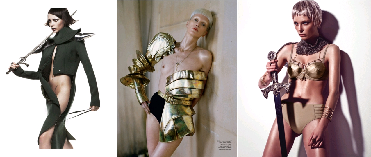 Naty Chabanenko by Ishi, French Revue de Modes, Fall 2011 / Kristen McMenamy by Tim Walker, Love Magazine Spring - Summer 2012, Kirsten wears metal armor pieces by Christian Dior (2006) / Joan of Arc Collection, by Marlies Dekkers (Dutch lingerie designer), 2014