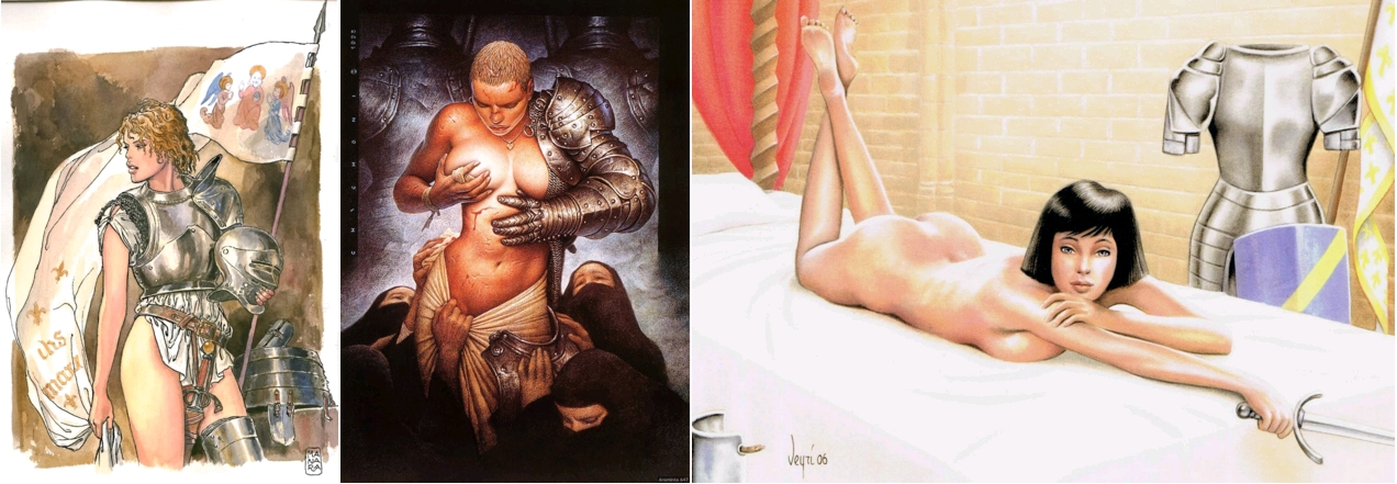 Giovanna d'Arco, by Milo Manara, circa 1990 / Joan of Arc, by Oscar Chichoni, 1993 / Jeanne d'Arc, par Bernard Veyri, 2006