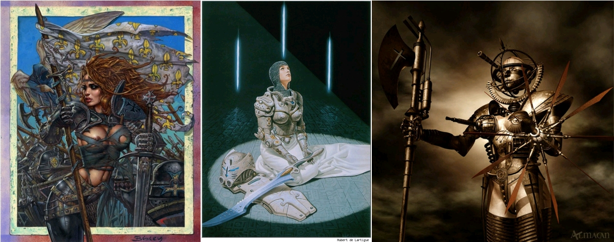 Joan of Arc, painting by Simon Bisley, circa 2012 / Joan Of Arc 2199, by Hubert de Lartigue, 2012 / The Armed Meiden [sic] - Mechanical Jeanne d'Arc who revived in the future, by Almacan, Digital Art, 2014