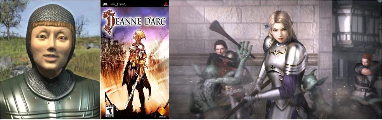 Joan of Arc, leader of French, Civilization III, Firaxis Games, 2001 / Jeanne d'Arc, dir. Kentaro Motomura, Sony Computer Entertainment, 2006-2007 / Joan of Arc, Bladestorm: Nightmare, dir. Kenichi Ogasawara, Koei, 2015
