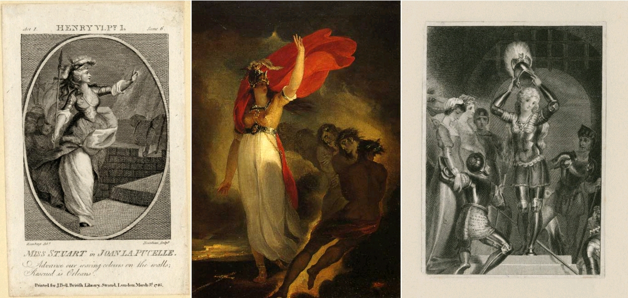 Miss Stuart in Joan La Pucelle, Henry VI, Part 1 by William Shakespeare, George Simon Harcourt, printed for J. Bell, London, 1786 / Joan of Arc and the Furies, depicting a scene in Henri VI, Part 1, William Hamilton, Vassar College, Art Gallery, circa 1795 / Joan of Arc donning her helmet in Henry VI, Part 1, by William Shakespeare, late 18th or early 19th century