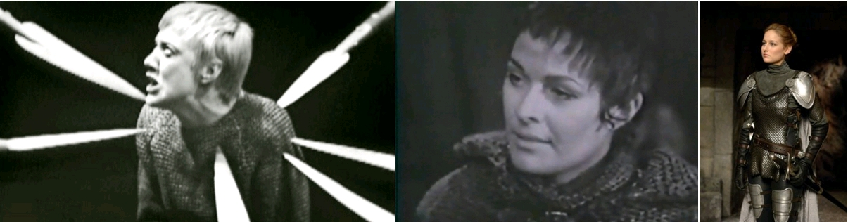 An Age of Kings - Henry VI Part 1 - The Red Rose and the White, dir Michael Hyes, avec Eileen Atkins, BBC, 1960 / The War of the Roses - Henry VI, d'après William Shakespeare, par Robin Midgley et Michael Hayes, avec Janet Suzman, BBC, 1965 / Joan of Arc (miniseries), dir. Christian Duguay, Leelee Sobieski as Joan of Arc, 1999