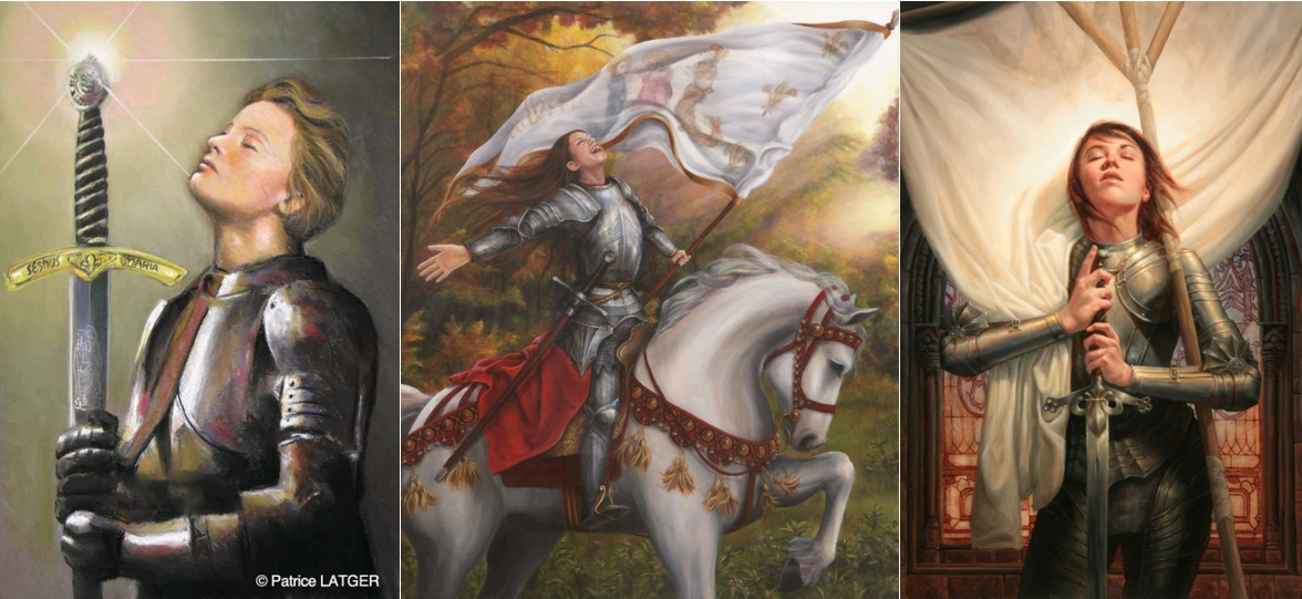 Jeanne d'Arc, par Patrice Latger, pastel, circa 2010 / The Exultation of Joan of Arc, by Dani Lachuk, 2010 / Joan of Arc by Michael C Hayes, circa 2012