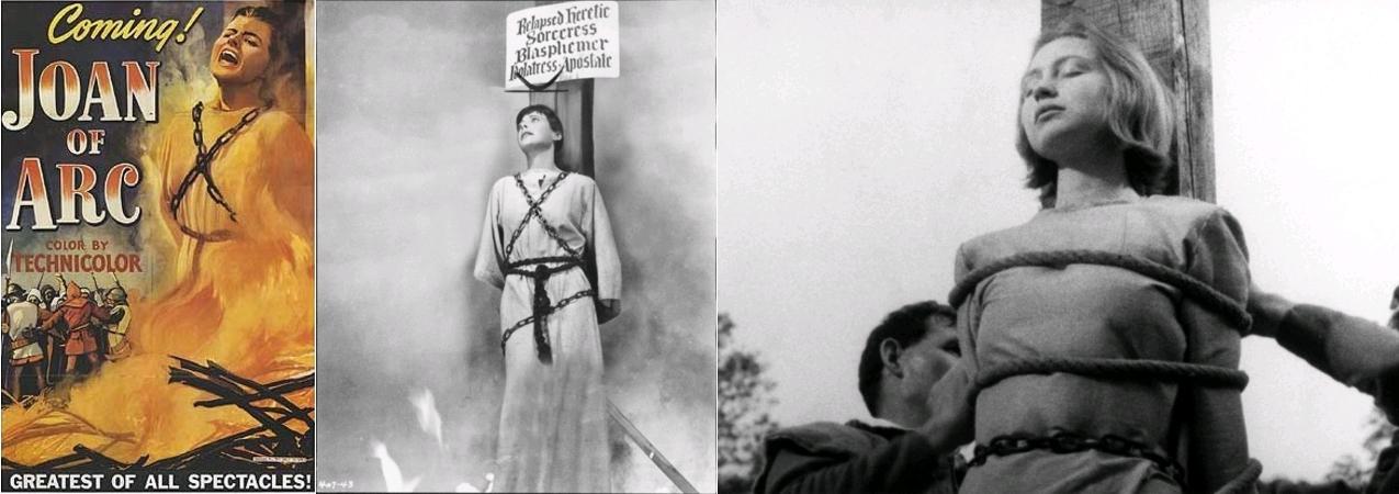 Joan of Arc, with Ingrid Bergman, Victor Fleming, 1948, movie poster / The Story of Mankind, dir. Irwin Allen, 1957, Warner Brothers, Hedy Lamarr as Joan of Arc / Procès de Jeanne d'Arc, dir. Robert Bresson, avec Florence Carrez [Florence Delay], 1962