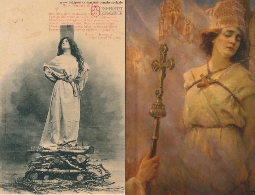 Jeanne d'Arc - Mais Dieu, dont les desseins restent impénétrables, carte postale WW1, circa 1915, Universität Osnabrück / Joan d'Arc, Jan Styka, oil on canvas, 1922, Polish Museum of America, Chicago