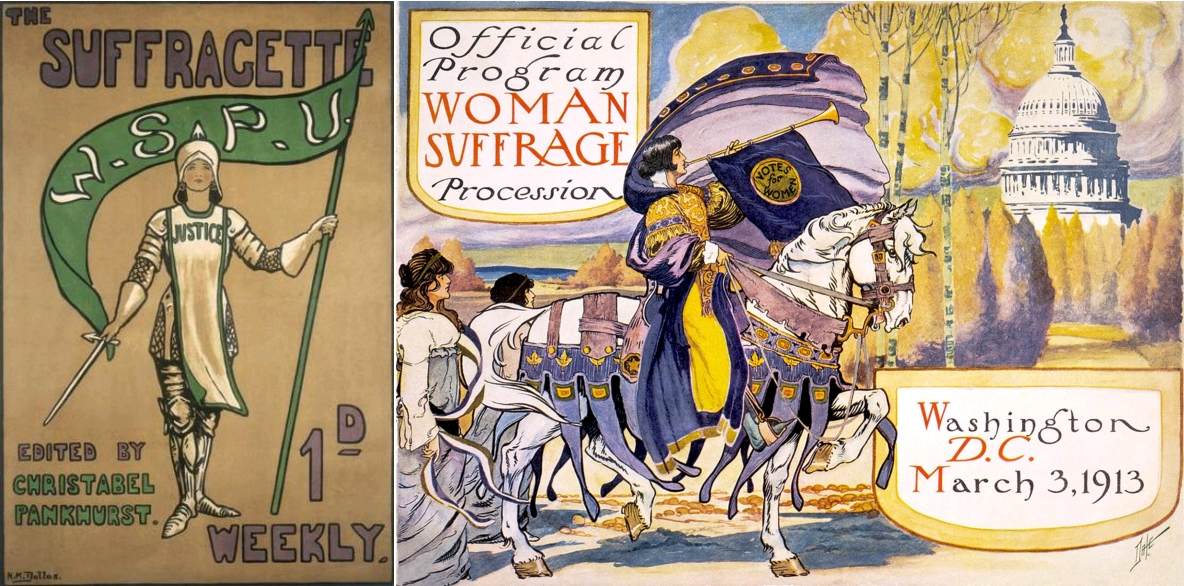Suffragette poster edited by Christabel Pankhurst, 1912 (via le monde des suffragettes) / Official program - Woman suffrage procession, Washington, March 3, 1913