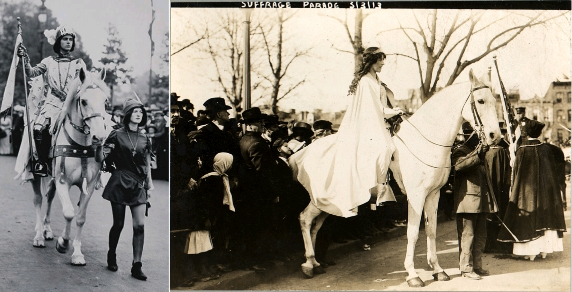 Marjorie Annan Bryce on horseback dressed as Joan of Arc at the Women's Coronation Procession, London, 17th June 1911. She is led by another woman in a Robin Hood costume / Inez Milholland Boissevain, wearing white cape, seated on white horse at the National American Woman Suffrage Association parade, March 3, 1913, Washington, D.C., The Library of Congress