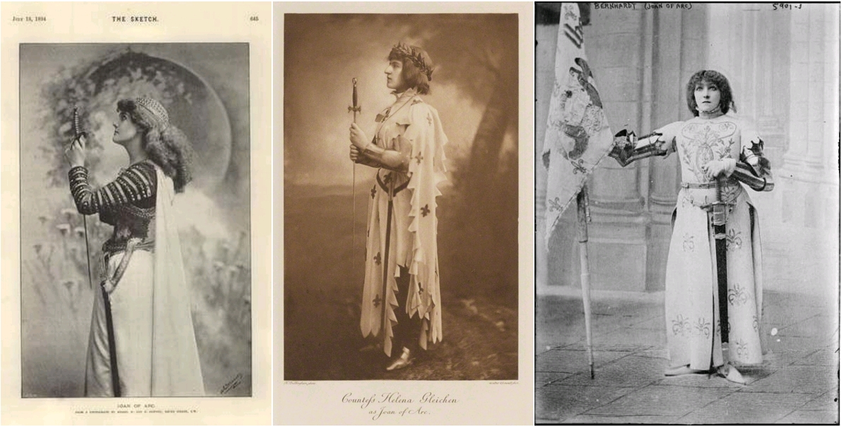 Joan Of Arc, Photo Study Art Notes Lucien Gros, The Sketch, July 11, 1894 / Lady Helena Gleichen (Countess) as Joan of Arc, by Henry Bullingham; photogravure, 1897; published 1899, National Portrait Gallery, London / Sarah Bernhardt as Joan of Arc, 1898, The Library of Congress
