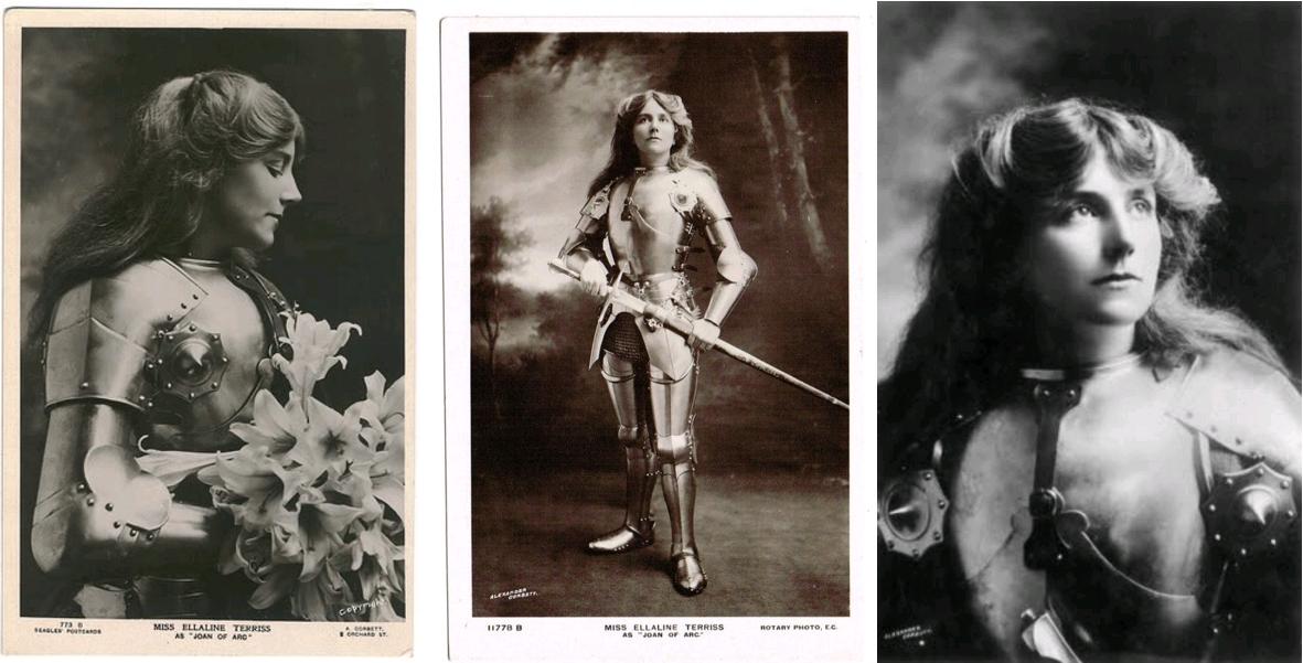 Ellaline Terriss as Joan of Arc, three photos by Alexander Corbett, circa 1909, National Trust