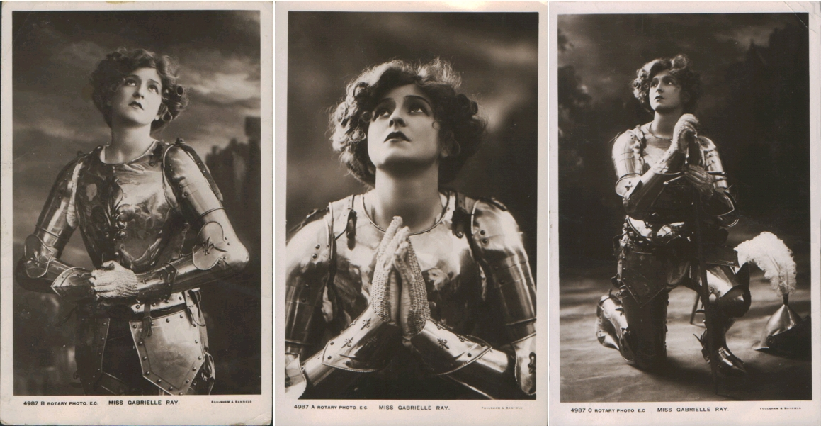 Gabrielle Ray as Joan of Arc, three photos, unknown photographer, circa 1909