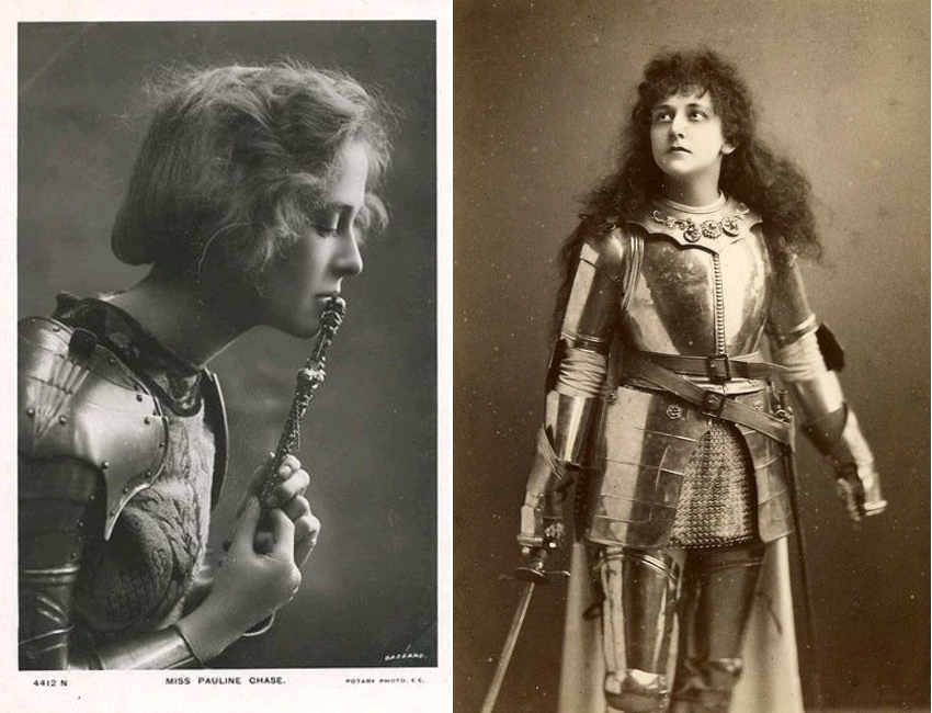 Pauline Chase as Joan of Arc, Teatro alla Scala, Milano, circa 1909 / Mary Kingsley as Joan of Arc in the history play 'Henry IV' Part 1 by William Shakespeare, circa 1910