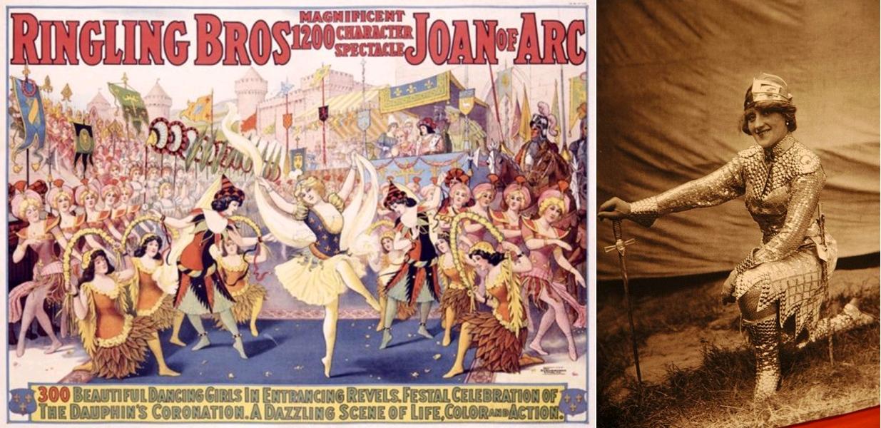Ringling Bros, Magnificent 1200 Character Spectacle, Joan of Arc, affiche publicitaire et photo de Jeanne d'Arc, circa 1912