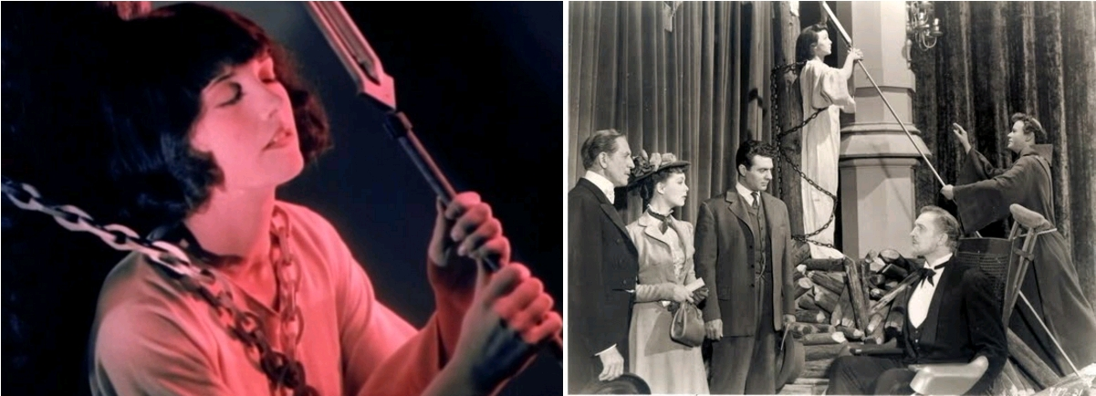 Monica Bannister as Joan Gale [model of Joan of Arc], Mystery of the Wax Museum, dir. Michael Curtiz, 1933 / Carolyn Jones as Cathy Gray [model of Joan of Arc], House of Wax, dir. André de Toth, 1953