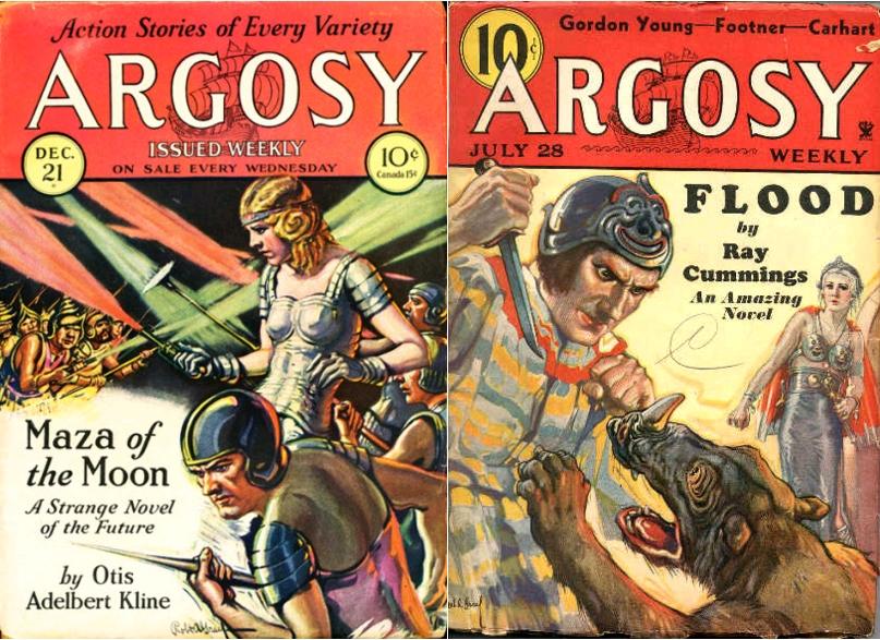 Maza of the Moon, by Otis Adelbert Kline, Argosy, December 21, 1929 / Flood, by Ray Cummings, Argosy, July 28, 1934
