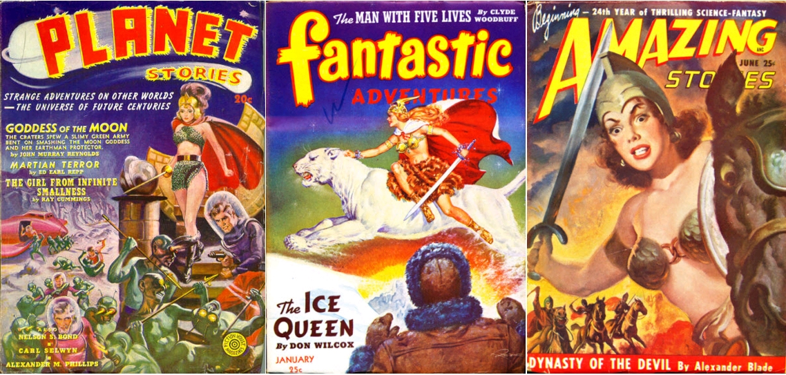 Planet Stories, Spring 1940 / Fantastic Adventures, January 1943 / Amazing Stories, June 1949