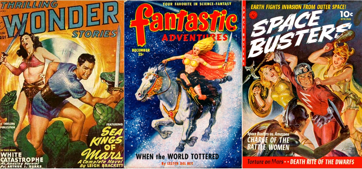 Thrilling Wonder Stories, June 1949 / Fantastic Adventures, December 1950 / Space Busters, spring 1950, cover art by Norman Saunders