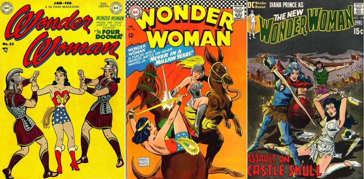Wonder Woman #33, January-February 1949, DC Comics / Wonder Woman #168, February 1967, DC Comics / Wonder Woman #192, January-February 1971, DC Comics