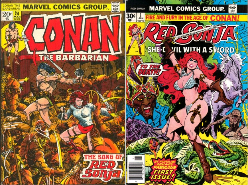 Conan the Barbarian #24, March 1973 [deuxième apparition de Red Sonja] / Red Sonja #1, January 1977