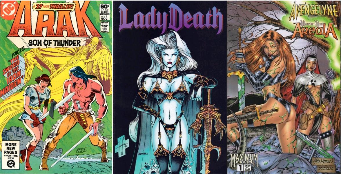 Valda the Iron Maiden, Arak, Son of Thunder #3, November 1981 / Lady Death III - The Odyssey #4, August 1996 / Avengelyne - Warrior Nun Areala, 1994, Maximum Press