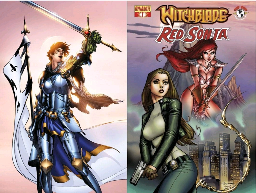 Joan of Arc as Witchblade wielder [manieuse de witchblade], circa 2000 / Witchblade-Red Sonja #1 , February 2012, Dynamite [crossover]