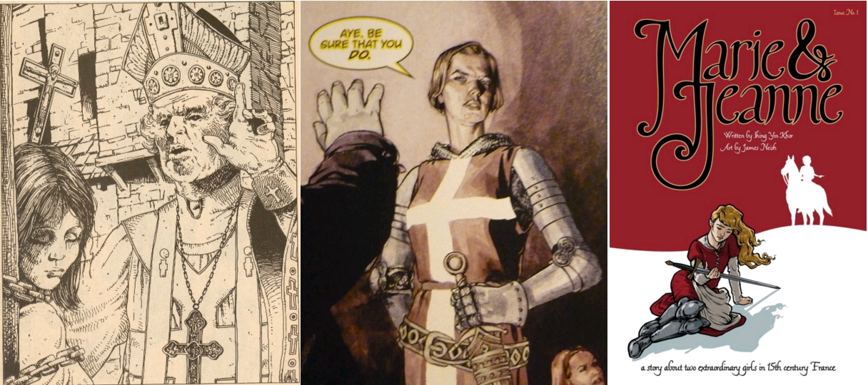The Escape and Pursuit of Jeanne d'Arc, by Dean Motter, Andromeda #1 [canadian SF comics magazine], 1977, page 44 / Joanna 'The Maid' Dark, personnage de 'Top 10 - The Forty-Niners', written by Alan Moore, drawn by Gene Ha, 2009 / Marie & Jeanne (vol. 1), writer Shing Yin Khor, artist James Neish, Sawdust Press, 2014