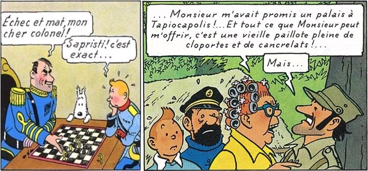 Le général Alcazar, sa barbe naissante, son évolution - l'Oreille cassée, page 23 / Peggy avec des bigoudis et Alcazar, Tintin et les Picaros, page 41 [extraits]. Copyright © Hergé / Moulinsart