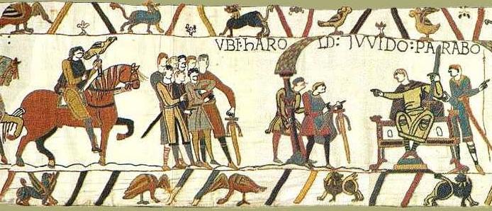 Scène 9 - Les Anglais ont les cheveux longs et la moustache, Harold à gauche avec son faucon - les Français ont les cheveux courts, la nuque rasée et n'ont pas de moustaches - Guy de Ponthieu à droite. Musées de la ville de Bayeux