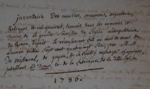 Inventaire des biens mobiliers de Notre-dame de Rouen, ADSM G 2114, 1786.