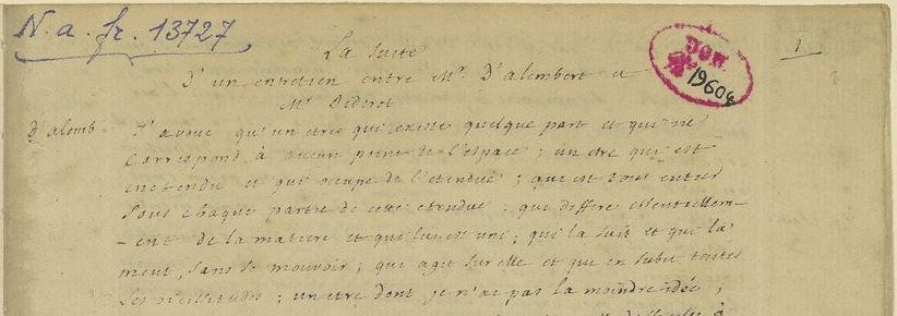 Autograph Diderots. Quelle: Paris, BnF, nouv.ac.q fr. 13727, fol. 1r (Detail). Gemeinfrei.