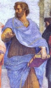 Aristoteles. Detail aus: Raffael, Die Schule von Athen (1510/11). Quelle: . Gemeinfrei.