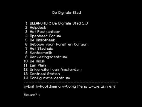 De Digitale Stad (interface en 1993) - Crédits : Waag Society